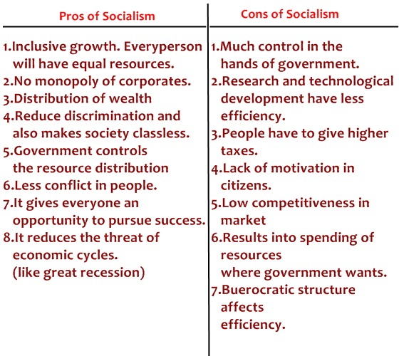 pros and cons of socialism table
